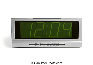 Digital electronic clock from radio on a white background