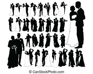 Just married - Bride and groom dancing, silhouettes