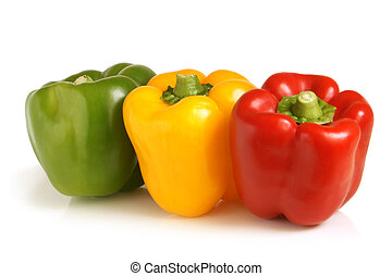 Bulgarian peppers on a white background