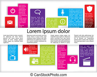 Info graphics with icons - Info graphics with various media...