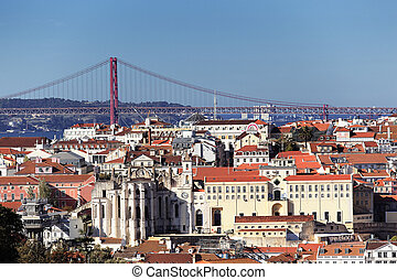 Lisbon view - Panoramic kind to Lisbon and the river Tagus,...