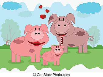 Family animals,pigs - Family animals
