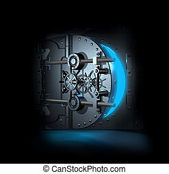 open bank vault, 3D render - open bank vault, blue shining...
