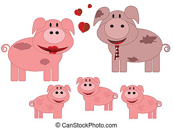 Family animals,pigs