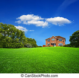 Green landscape and new house