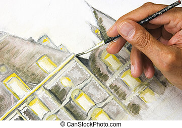 Man's hand painting on canvas - Man's hand painting a castel...