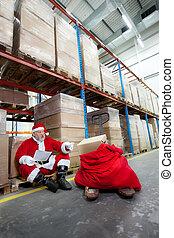 Santa claus checking list of gifts - Santa claus checking...