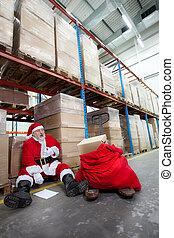 santa claus with pain in chest - Overworked santa claus with...