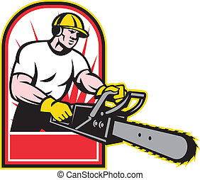 Tree Trimmer Arborist Holding A Chainsaw - Illustration of...