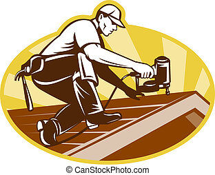 Roofer Roofing Worker Working on Roof - Illustration of a...