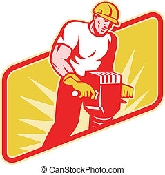 Construction Worker Drilling with Jack Hammer - Illustration...