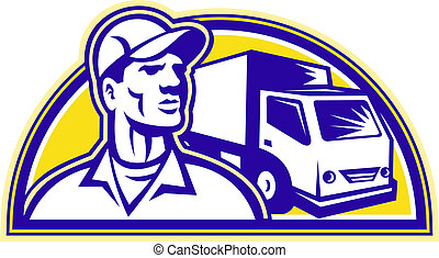 Removal Man Delivery Guy with Moving Van - Illustration of a...