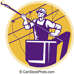 Lineworker Power Lineman With Hook - Illustration of a line...