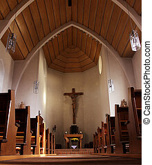 church - the wooden church with cross on the wall
