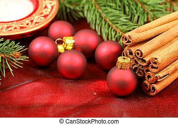 Aromatic Christmas - Christmas balls and cinnamnon - table...