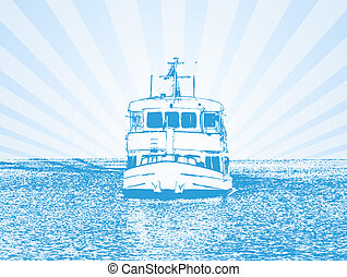 Vector illustration of a ship in blue