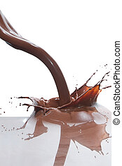 pouring chocolate - splash of chocolate isolated on white...