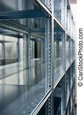 shelves of a rack - a lineup of racks for storage in a...