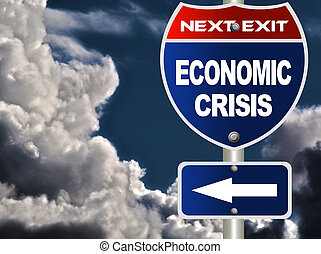 Economic crisis road sign