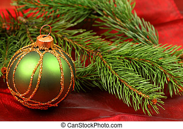 Christmas greeen bauble - Green Christmas bauble and fresh...
