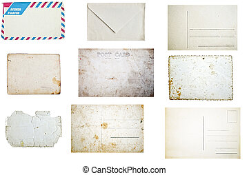 Set of grunge empty postcards and envelopes isolated on white background
