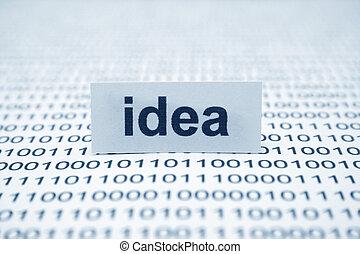 idéia, texto, binário, dados