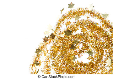 golden tinsel with small stars isolated on white background