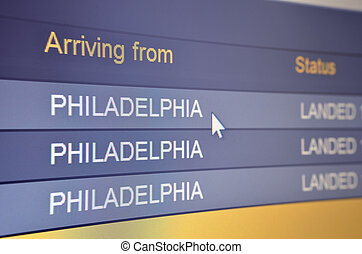 Flight arriving from Philadelphia - Computer screen closeup...