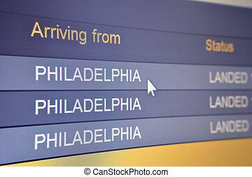 Flight arriving from Philadelphia - Computer screen closeup...