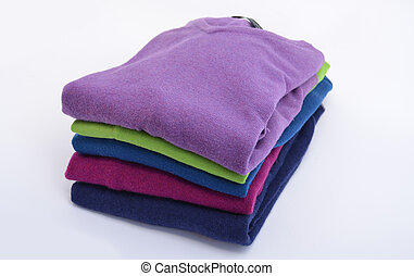Stack of cashmere sweaters - Pile of colorful, folded...