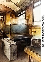 Last century rail car interior. Passenger carriage