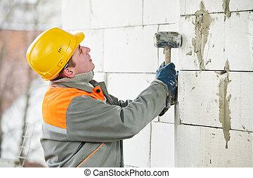 construção, pedreiro, trabalhador, pedreiro