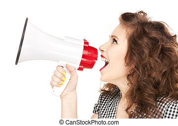 woman with megaphone - bright picture of beautiful woman...