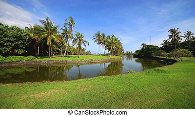 Fairway of tropical golf field, Bali, IndonesiaVery wide...