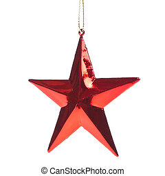 christmas star - red christmas star isoalted on white...