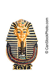 egyptisk, gyllene, Faraoner, maskera, isolerat, vit