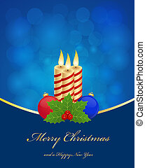 Christmas greetings background with candles and balls