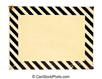 Empty metal plate with warning stripes