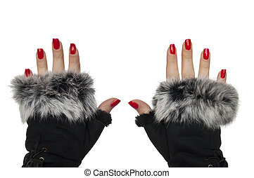 Woman hands with winter gloves