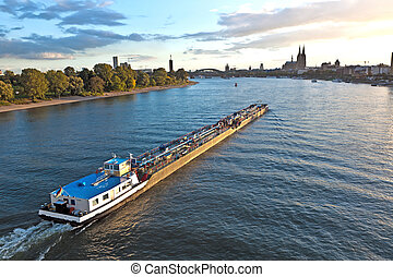 freight ship on river Rhine by Cologne
