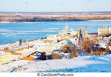 November view Nizhny Novgorod Russia from embankment