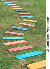 Colorful Wooden Walkway - Colorful Wooden Walkway and...