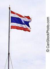 Thai flag - National Thai flag in the wind