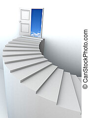 3D stairs up to clean sky with clipping path - Open door to...