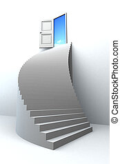 3D stairs up to success