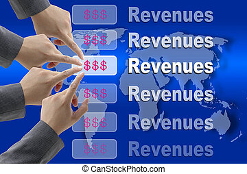 Making Revenues - Business Team Pushing on Revenues Button...