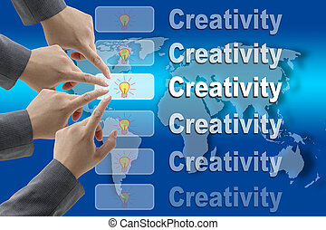 Creativity Team - male business hand pushing on Creativity...