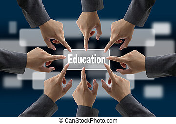education concept - A diverse business team with hands...