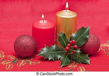 Christmas Cards with candles and holly plant