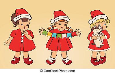doncella, poco, nieve, niña, Traje